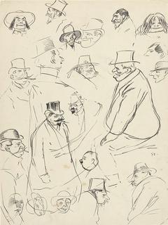 Karikaturale portret- en figuurstudies van mannen