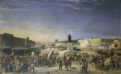 L'attaque du Louvre, le 29 juillet 1830, vue du Pont-Neuf.