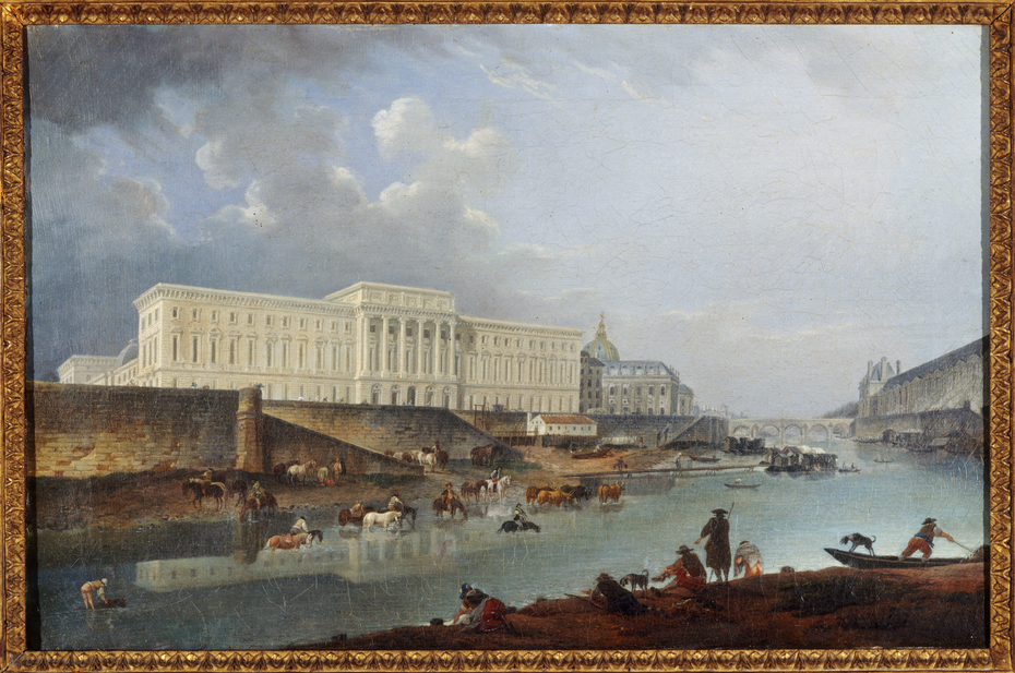 L'Hôtel de la Monnaie, le quai de Conti et la Seine, vus de la pointe de la Cité