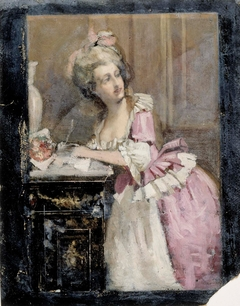 Lady Writing, Study II for the Rococo Lady