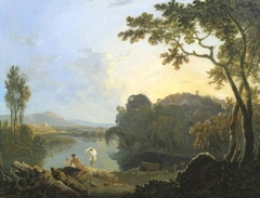 Landscape with Bathers, Cattle and Ruin