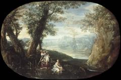 Landschaft mit badenden Frauen