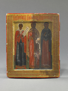 Menologion Icon with Sts. Paraskeve, Catherine, and Anastasia