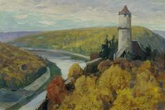 """Moldau (aus der Mappe """"16 Ansichten tschechischer Landschaften 'Česka Krajiná'"""")"""
