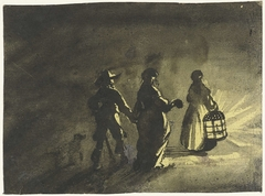Nachtstuk: echtpaar lopend achter een vrouw met een lantaarn, van achteren