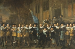 Officers and other civic guardsmen of the IVth District of Amsterdam, under the command of Captain Jan Claesz van Vlooswijck and Lieutenant Gerrit Hudde