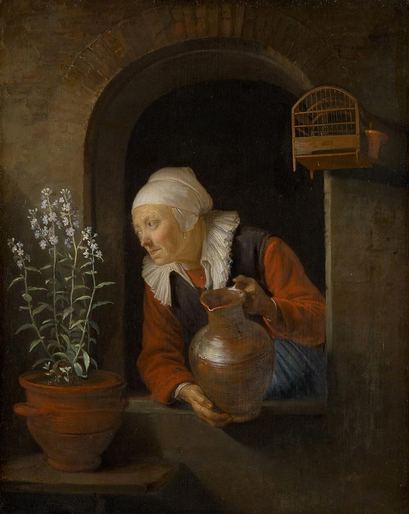 Old Woman Watering Flowers