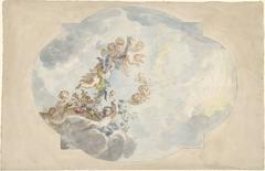 Ontwerp voor een plafondschildering met putti, bloemen en guirlandes