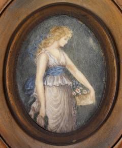 Oval Portrait Miniature of Woman with Basket of Flowers