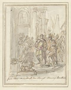 Paris wordt verwelkomd aan het hof van Menelaüs