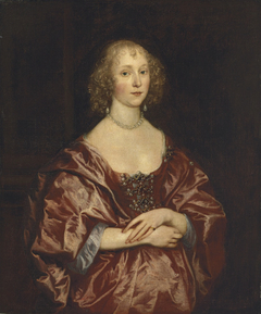 Portrait of a lady, half-length, in a red dress embroidered with pearls and diamonds