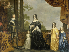 Portrait of Frederik Hendrik (1584-1647), Prince of Orange, his wife Amalia van Solms (1602-75) and their three youngest daughters, Albertina Agnes (1634-96), Henrietta Catharina (1637-1708) and Maria (1642-88)