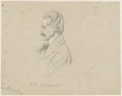 Portret van de schilder Daniël van Oosterhoudt, in profiel naar links