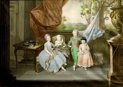 Prinz Ludwig von Parma (1773-1803) mit seinen drei ältesten Geschwistern Karoline (1770-1804), Marie Antonie (1774-1841) und Charlotte (1777-1813)