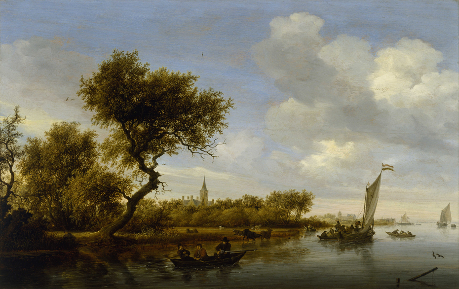 River Landscape with a Church in the Distance