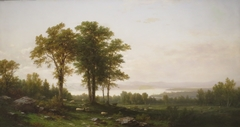 River Landscape with Sheep