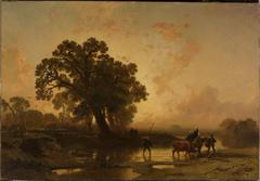Riverside landscape at sunset