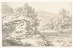 Rotsen en rivier in heuvellandschap