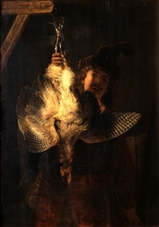 Self-portrait with a Dead Bittern (Botaurus stellaris, Dutch: Roerdomp)