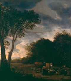 Sheltered pasture with cattle