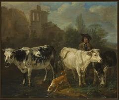 Shepherd with a flock