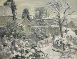 Snowscape with Cows at Montfoucault