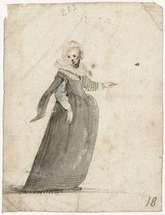 Staande vrouw met opgeheven arm