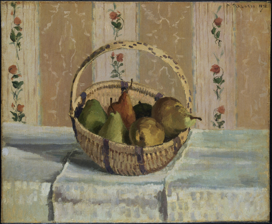 Still Life: Apples and Pears in a Round Basket