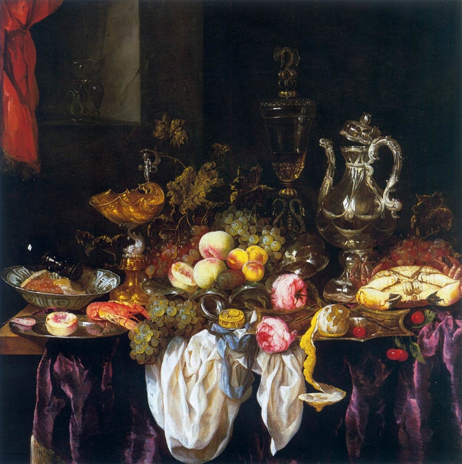 Still-Life with Fruit, Sea Food, and Precious Tableware