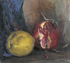 Still life with pomegranate and quince