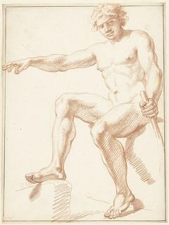 Studie van mannelijk naakt, zittend met gestrekte arm