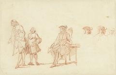 Studieblad met twee staande mannen en een zittende man, wiens hoofd driemaal herhaald is