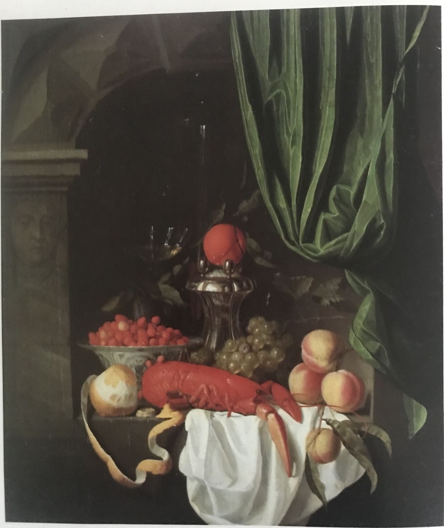 Sumptuous Still Life with Lobster, Fruit, Silver Saltcellar, and Wine Glass in a Niche
