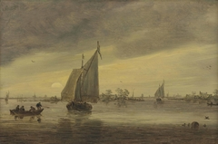 Sunrise over the Haarlemmermeer with a small ship and other boats