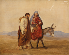 The Holy Family on the run. Sketch