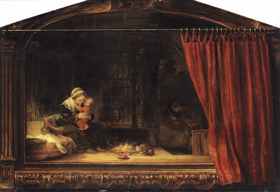 The Holy Family with Painted Frame and Curtain