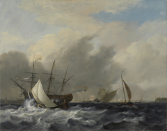 The Navy's Man-of-War 'Amsterdam' off the Westerlaag on Y at Amsterdam
