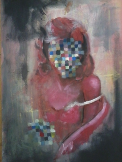 the red girl (acrylic colours on canva)