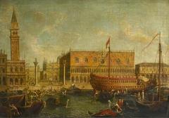 The state vessel Bucentaur moored alongside the Doge's Palace, Venice