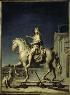 Transport sur la place Louis-le-Grand de la statue de Louis XIV de Girardon, le 16 juillet 1699