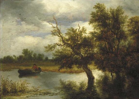 Trees on a lake with rowboat