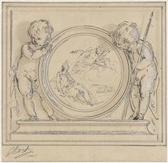 Twee putti met medaillon, waarin de verschijning van Apollo aan de muze
