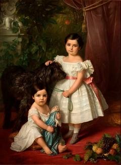 Portrait of Kronenberg sisters (Maria Róża and Róża Maria Karolina) with a dog
