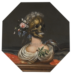 Vanitas bust of a lady's skull with a crown of flowers on a ledge