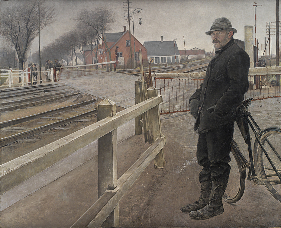 Waiting for the Train. Level Crossing by Roskilde Highway