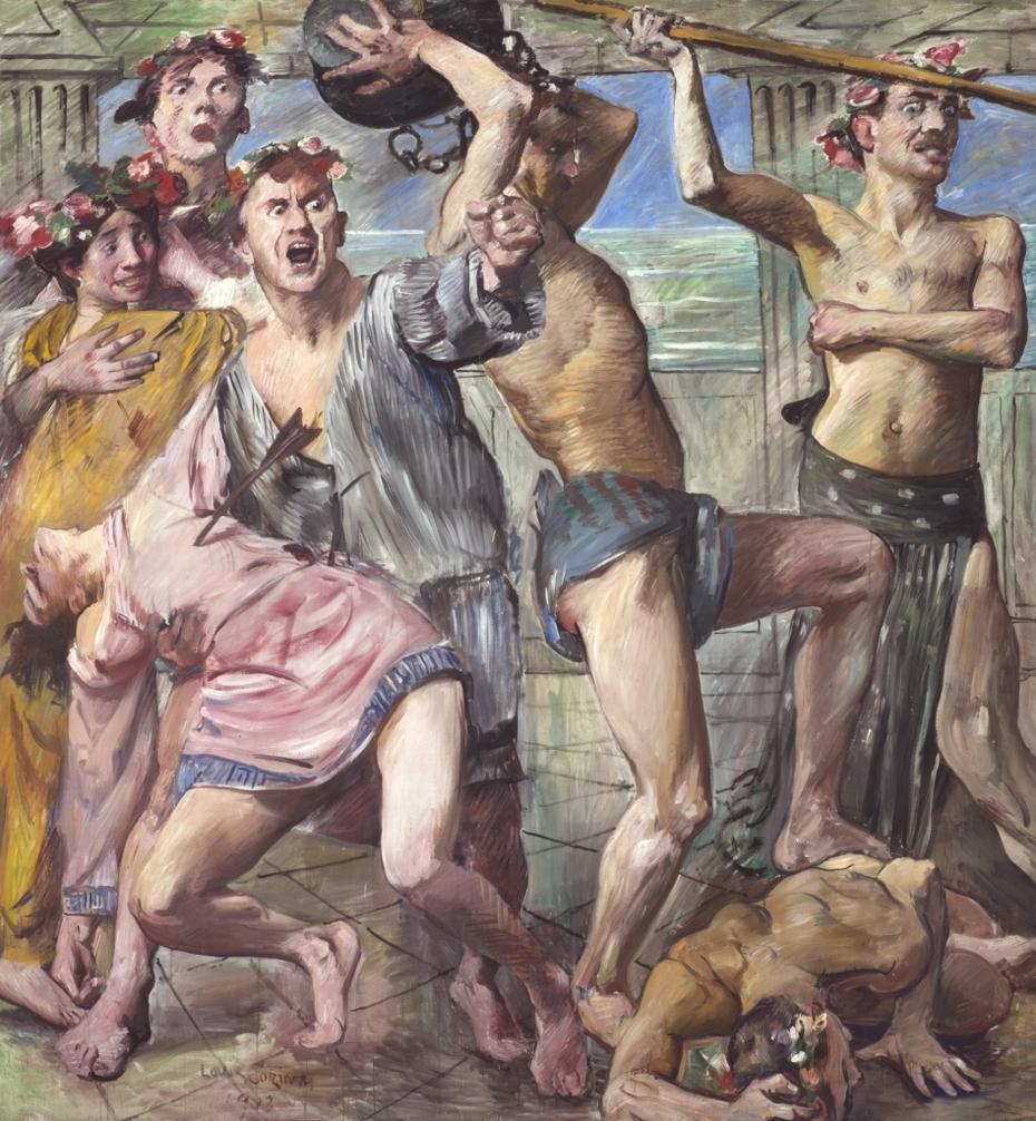 Wandschmuck der Villa Katzenellenbogen (Die Freier im Kampf gegen Odysseus). Gemäldezyklus von insgesamt 11 Bildern