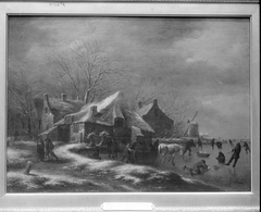 Winter Landscape with Cottages and a Windmill at the Bank of a Frozen River