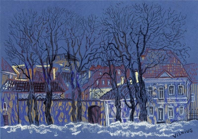 Winter Vilnius sketch