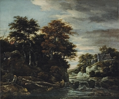 Wooded river landscape with a waterfall, a shepherd with his flock and houses beyond