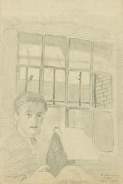 Zelfportret met zijn schetsboek in de dodencel: B-1-1, 10 januari